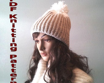 Snowy Peaks Beanie  PDF knitting pattern for download, rib, woolly hat, hand knit, two color, kids, adults, teens, bobble hat, winter