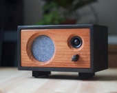 NEW! Wood Desk Speaker || Reclaimed Wood Wireless Bluetooth Speaker || Fawn Speaker | Ebony & Redwood With Blue Cloth