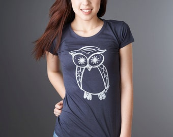 Womens T-shirts Owl Tshirt Bamboo Organic T shirt Organic Clothing Eco Clothing by Uni-T