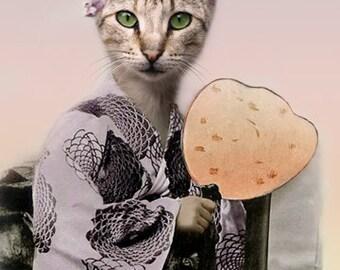 Mika, Japanese Cat Print, Anthropomorphism, Whimsical Cat Art, Japanese Art Print, Cat Wall Decor, Digital Art Print, Gift for cat lover