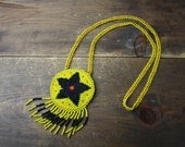 Vintage Indigenous  Beadwork Necklace / First Nations , Western Canada Seed Bead Medallion Pendant with fringe