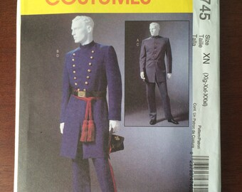 Civil War Costume Pattern, Men's Military Uniform, Union Rebel Confederate Soldier, McCalls M4745 XL, XXL, XXXL