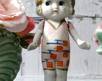 Vintage Bisque Doll Flirty Eyes Swim Suit Flapper - Frozen Legs and Jointed Arms 1930's Made in Japan