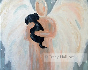 "Angel Dog Painting PRINT Pet Remembrance Memorial Gift Black Lab Guardian Angel Art 8"" X 10"""