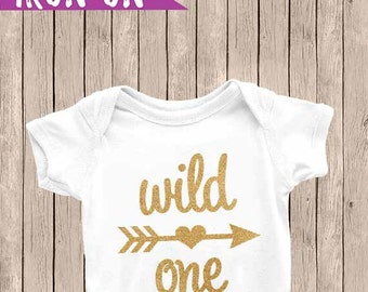 Wild One Iron On, Iron On Decal, Birthday Decal, Gold Glitter, Wild One, First Birthday Outfit