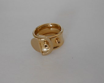 18K Solid Yellow Gold Italian Belt Buckle Ring, Size 6.5