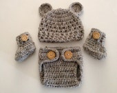 Crochet Baby  Hat and Diaper Cover Set, Baby Bear Outfit, Crochet Baby Boots,Newborn Bear Set Newborn Photo Prop Made To Order