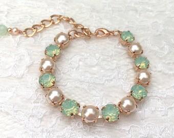 Mint Bracelet Rose Gold Peach Blush Pearl Mint Bridesmaids Mint Wedding Peach Wedding Peach Swarovski Crystal Mint Bridal Pearl Bracelet