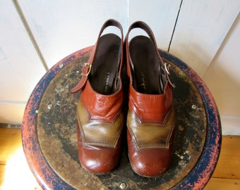 70s Mule Slingbacks - 3 Tone Brown Leather - Air Step - Made in USA