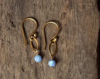 Opal Earrings, Gold Opal Earrings, Dangle Earrings, October Birthstone, Blue Opal Earrings, Bridesmaid Earrings, Simple Gold Earrings, Opals