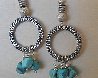 Earrings Turquoise Cubes  Tibetan Silver Ring Silver Beads  Dangles Gypsy Vibe Bohemian Style