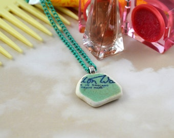 Scottish Beach Pottery Necklace - Green, Blue and White - Sustainable - Beachcomber - Eco Friendly - Carlton Ware - Upcycled Jewellery