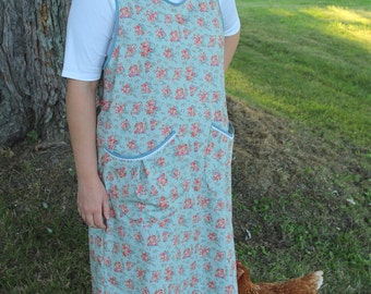 Pale Blue and Rose Calico Bread Baking Apron -Ready to Ship