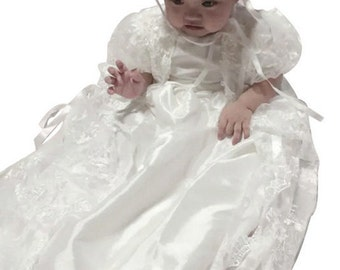 Lace Long Baptism Gown White Long Christening Gown Baby Dresses Dedication dress Baptism Dress Blessing