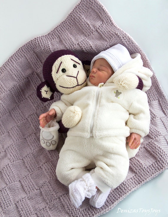 Monkey Baby Blanket Knitting Pattern : Monkey Toy Baby Blanket. - pdf knitting pattern from ...