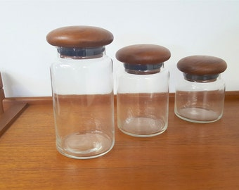 Teak and Glass Canister Set