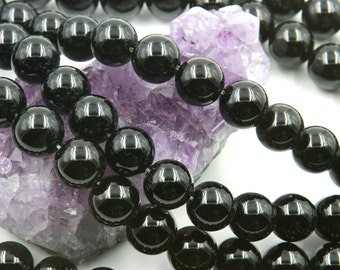 """Lot of 5 Strands 12mm Black Onyx Beads Round 15.5"""" (BD1698)"""