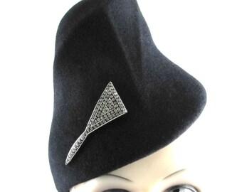 Womens Hat Black Velour Fur Felt Handmade Hat Church Hat Ascot Derby Rases Veil Cloche Pin not included Art Deco Custom Made for Each Client