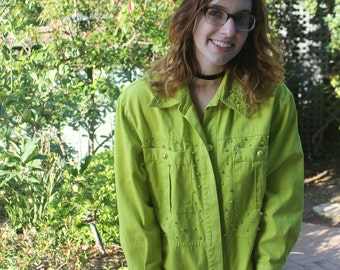 90s Rhinestone and Pearl Neon Yellow Festival Hipster Denim Jean Jacket