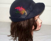 1940s Ladies Fedora Hat  - Good Condition - Belvedere - Feather Accented - Henry Pollack - 100% Wool