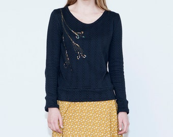Black sequin winter top, Long sleeve blouse with sequins, Black top with sparkle