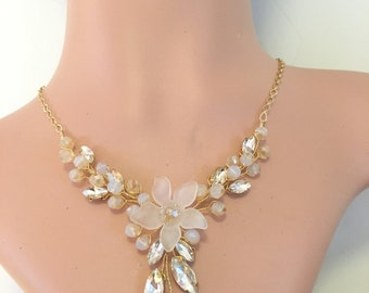 Wedding necklace gold, statement necklace for bride, gold bridal necklace crystal, rhinestone necklace bridal jewelry wedding jewelry bridal