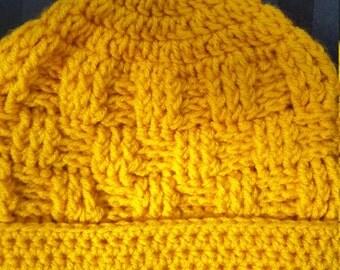 Crochet Gold Basket Woven Beanie