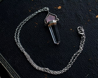 Double terminated rose quartz + natural clear quartz crystal with silver setting necklace