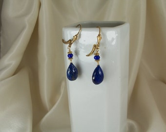 Lapis lazuli 13mm briolette earrings AAA gold filled leverback with vermeil ornament gemstone handmade MLMR item 381