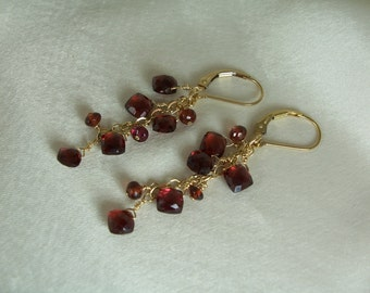 "Garnet dangle earrings about 2"" total squares gold filled interchangeable leverback gemstone handmade item 825"