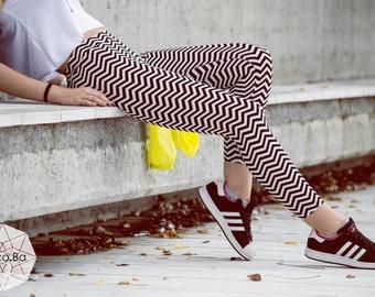 Black White Leggings, Printed Stripes Pants, Stretch Leggings, Yoga Pants, Yoga Leggings, Spandex Leggings, Woman Pants, Workout Pants
