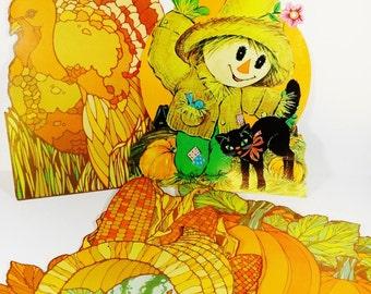 Set of Vintage Fall - Autumn Cutouts - Halloween Thanksgiving 70s - Halloween Decor - Fall Decor Autumn Decor - Paper Ephemera School Decor