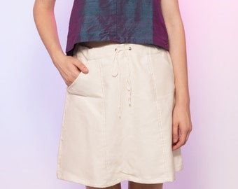 Ivory Ribbed Woven Drawstring Skirt with Pockets