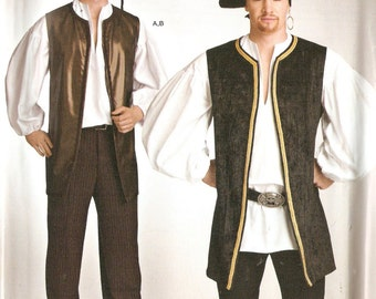 Simplicity S0323 Mens' Pirate or Steampunk Vest and Shirt Costume Sewing Pattern