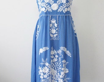 Mexican Embroidered Sundress Cotton Strapless Dress In Blue With Lining, Beach Dress, Boho Dress
