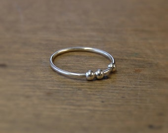 Sterling Silver Three Bead Abacus Stacking Ring