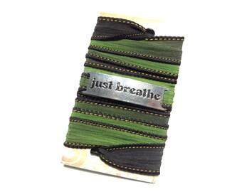 Just Breathe Silk Wrap Bracelet Yoga Jewelry Bohemian Green Wrap Bracelet Spiritual Bracelet Meditation Fall Wrist Wrap Zen Namaste Jewelry