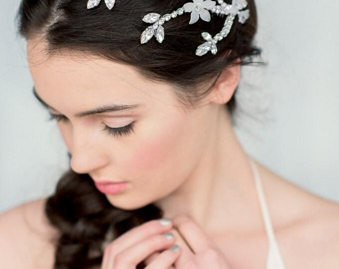 Silver Hair Vine, Crystal Headpiece, Beaded Hair Piece, Gold Hair Comb, Rose Gold Headpiece, Twig Hair Comb, Leaf Headpiece, GODIVA