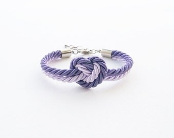 Heart knot bracelet - bridesmaid gift - bridesmaid bracelet - heart bracelet - rope knot bracelet - will you be my bridesmaid - purple