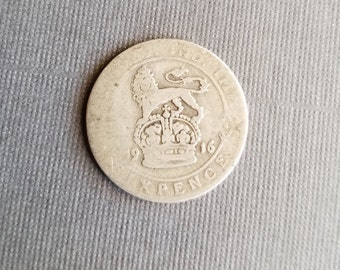 Antique 1916 Silver Sixpence Coin - Old British Sterling Silver