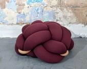 Medium Burgundy Floor Knot Cushion, Knot Floor Pillow pouf, Modern pouf, cushion, pouf ottoman, Meditation Pillow,