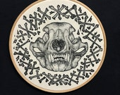 "Bear Skull Cross Bones Pointillism Screen Print on Natural Calico Framed in 8"" Embroidery Hoop"