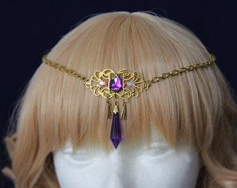 Zelda inspired Golden Circlet with purple gem and pendant - inspired in princess Zelda