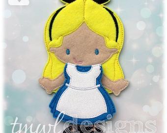 Alice In Wonderland Dress Felt Paper Doll Toy Outfit Digital Design File - 5x7