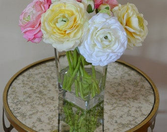 Ranunculus Flower Arrangement, in Glass Vase, Faux Water, Acrylic Water, Spring & Summer Flowers, Colorful Flowers, Gifts