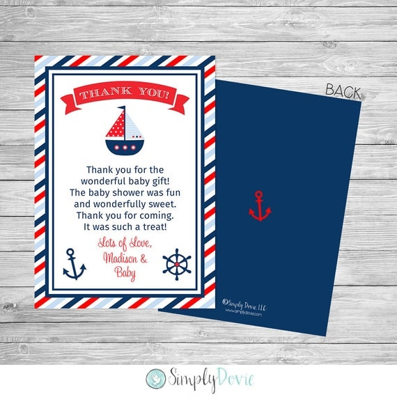 Nautical Baby Shower Thank You Printable Front And Back Ahoy