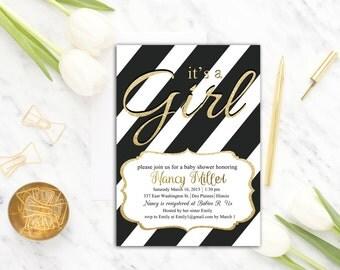 Girl Baby Shower Invitation Black and White, Baby Shower Invitation Printable, It's a Girl Baby Shower Invite, Template, Gold, Digital, DI