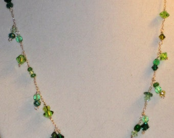 REDUCED FOR CHRISTMAS Green Crystal and Gemstone Artisan Necklace  with Silver Chain.