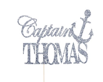 Nautical Cake Topper, Nautical Baby Shower Cake Topper, Sailor Baby Shower, Sea Captain Party, Captain Cake Topper, Sailor Birthday