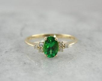 Tsavorite Garnet, The Virginia Ring From The Elizabeth Henry Collection, Rare Green Garnet Gemstone and Simple Diamond Ring  D64CUY-N